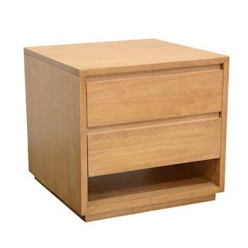 Bout de Canapé / Table de Chevet Hévéa 2 tiroirs, 1 niche basse 50x50x50cm BALTIC