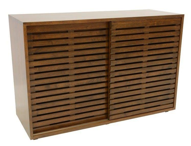 Buffet bas Hévéa 2 portes coulissantes Persiennes, 2 tiroirs intérieurs 120x45x80cm NEW ORLEANS