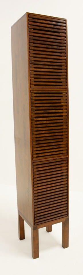 Colonne fermée Hévéa 3 portes Persiennes, 1 tiroir intérieur 35x35x195cm NEW ORLEANS