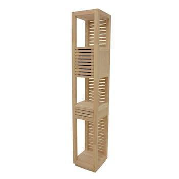 Colonne ouverte Hévéa 1 porte Persienne, 1 tiroir façade Persienne, 3 niches 35x35x195cm NEW ORLEANS