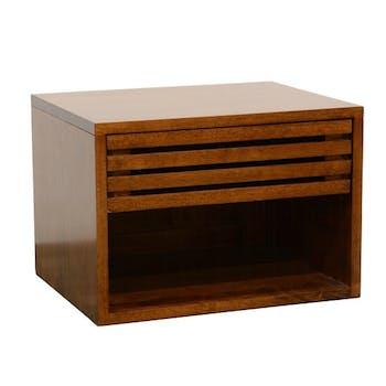 Table de Chevet / Bout de Canapé Hévéa 1 tiroir façade Persienne, 1 niche basse 50x40x40cm NEW ORLEANS