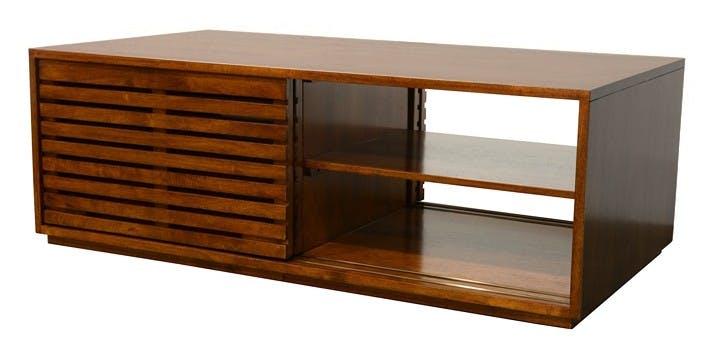 Table basse Hévéa 4 portes coulissantes Persiennes 130x70x45cm NEW ORLEANS