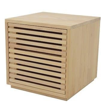 Table de Chevet / Bout de Canapé Hévéa 1 porte Persienne 45x45x45cm NEW ORLEANS