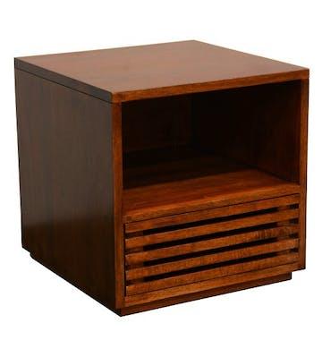 Table de Chevet / Bout de Canapé Hévéa 1 tiroir façade Persienne, 1 niche haute 45x45x45cm NEW ORLEANS