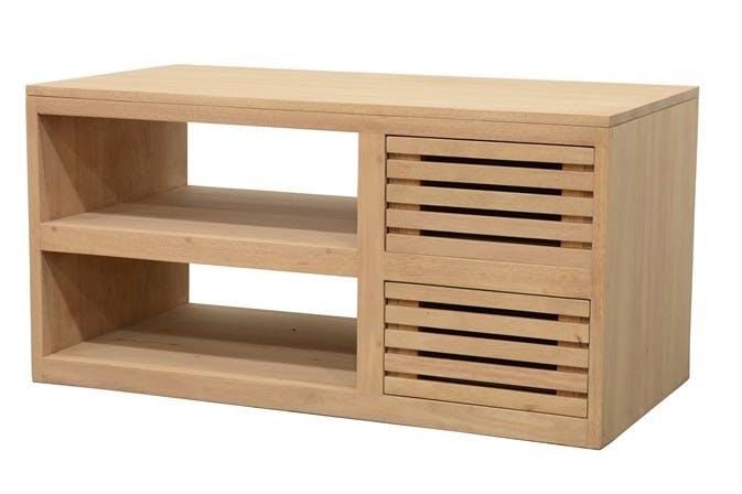 Meuble TV Hévéa 2 tiroirs façade Persienne, 2 niches 90x45x45cm NEW ORLEANS