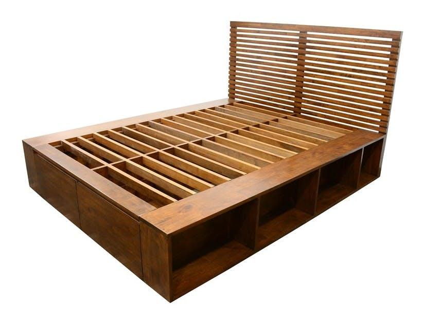 Lit 2 places Hévéa avec 2 tiroirs et 8 niches pour couchage 140x190 142x196x109cm NEW ORLEANS