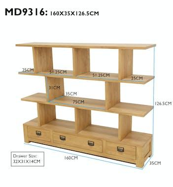 Bibliothèque ouverte Hévéa 3 étagères compartimentées, 3 tiroirs 160x35xH126 HELENA