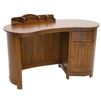 Bureau colonial vague hévéa massif 130cm TRADITION