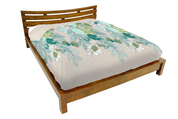 Lit 2 places couchage 140x190 avec tête de lit basse Hévéa 156x204x80cm NIAGARA