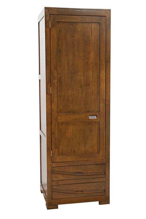 Armoire Penderie Hévéa 1 porte, 2 tiroirs 65x58x195cm NIAGARA