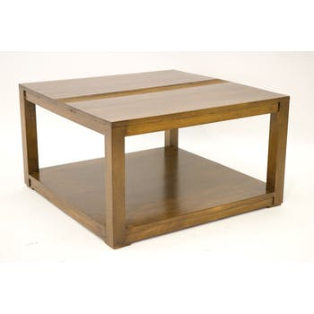 Table basse Hévéa double plateaux 70x70x40cm GALA