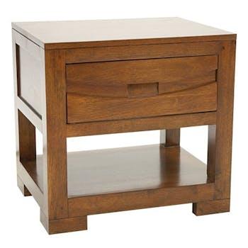 Table de chevet exotique 1 tiroir hévéa 50x40x48 NIAGARA