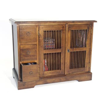 Meuble TV 3 tiroirs 2 portes hévéa 90x44x70cm MAORI