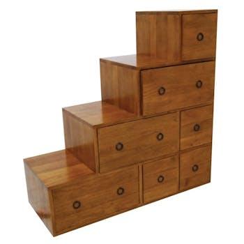 Meuble escalier double face 7 tiroirs hévéa 88x35x88cm MAORI