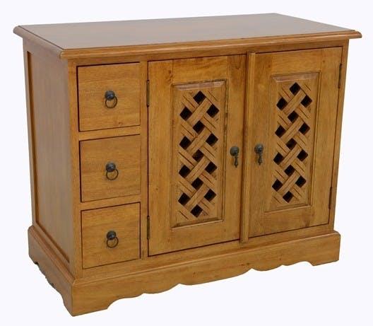 Meuble TV 3 tiroirs 2 portes hévéa 90x45x72cm MAORI