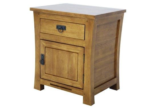 Table de chevet 1 tiroir droite hévéa 50x42x60cm MAORI