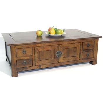 Table basse rectangle avec 4 portes et 8 tiroirs 120x70x40cm MAORI