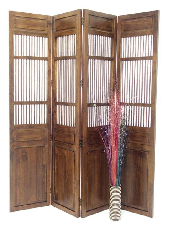 Paravent 4 volets hévéa 40x180cm TRADITION
