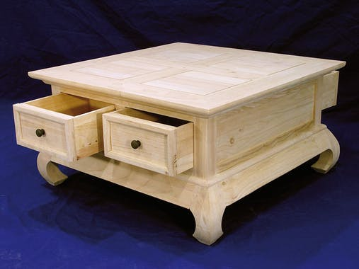 Table basse Opium Hévéa 4 tiroirs et pieds galbés 75x75x39,8cm MAORI