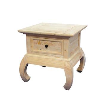 Table de Chevet / Bout de Canapé Opium Hévéa 1 tiroir et pieds galbés 50x50x50cm MAORI