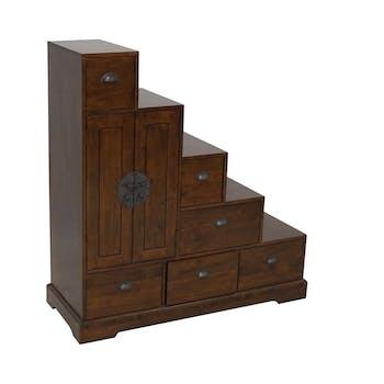 Meuble escalier 6 tiroirs hévéa 112x43x118cm MAORI