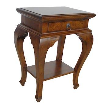 Table de chevet galbée 1 tiroir hévéa 46x36x65cm TRADITION