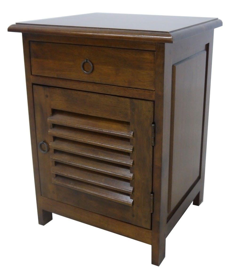 Table de chevet 1 tiroir 1porte persienne hévéa 45x40x60cm TRADITION