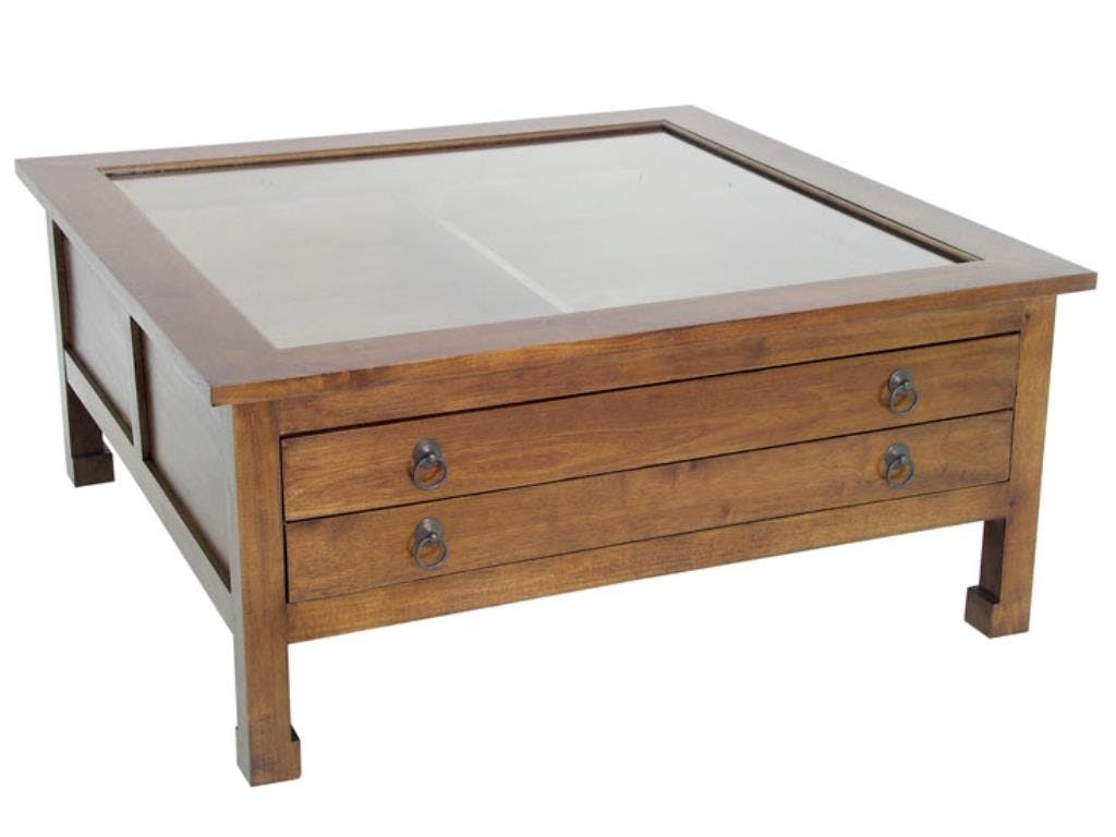 Table basse carrée vitré hévéa 100x100x40cm MAORI