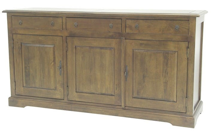 Buffet long 3 portes hévéa 150x45x80cm TRADITION