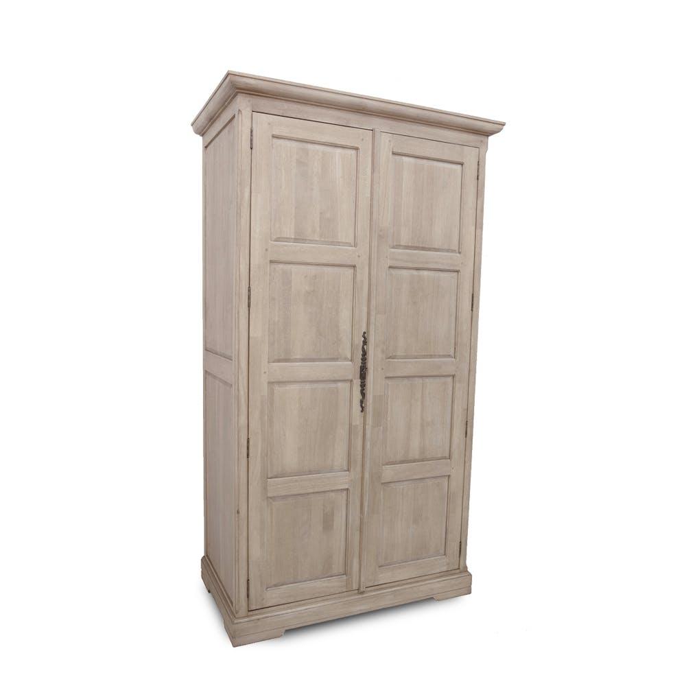 Armoire dressing 2 portes hévéa 110x62x195cm HELENA