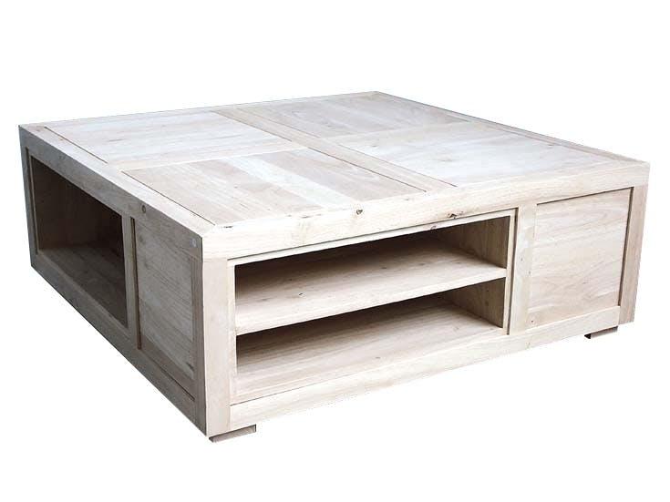Table basse carrée avec casiers hévéa 100x100x38cm HELENA