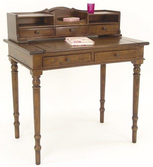 Bureau secrétaire 5 tiroirs hévéa 85x56x95cm TRADITION