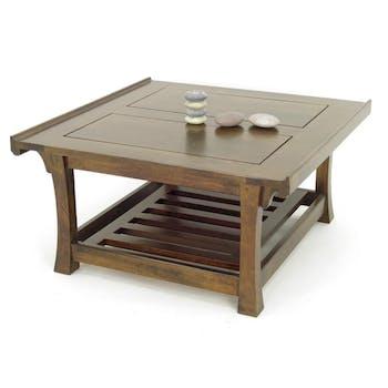 Table basse carrée hévéa 80x80x41cm MAORI