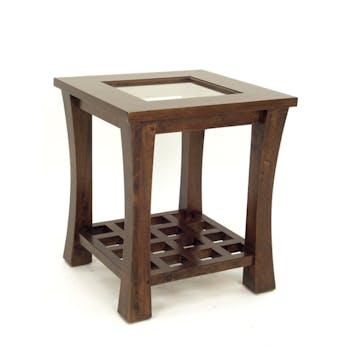 Bout de canapé ajouré Hévéa double plateaux - 1 vitré, 1 à croisillons - 50x50x56cm MAORI