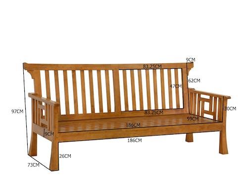 Canapé ajouré Hévéa 204x80x97cm MAORI