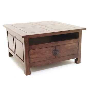 Table basse carrée 4 portes hévéa 80x80x45cm MAORI