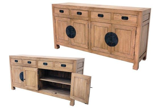 Buffet enfilade 4 portes 4 tiroirs hévéa 175x50x90cm MAORI