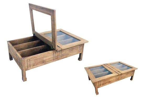 Table basse vitrée plateau ouvrant hévéa 125x80x40cm MAORI