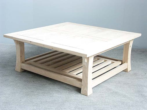 Table basse Chinoise Hévéa double plateaux - dont un ajouré - et pieds galbés 100x100x40cm MAORI