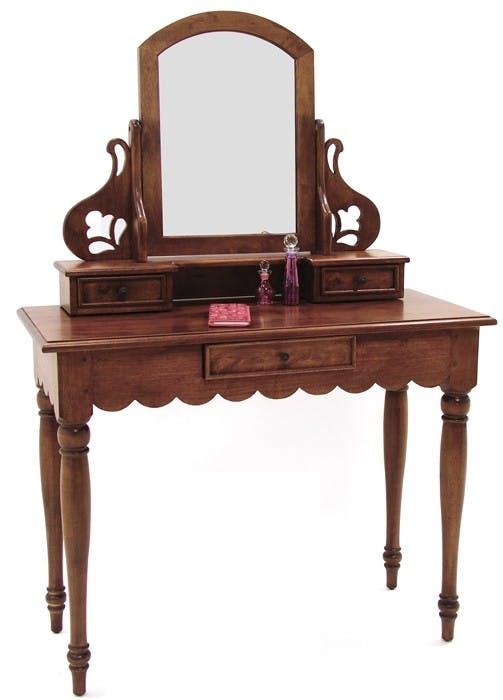 Coiffeuse avec miroir 3 tiroirs hévéa 100x45x143cm TRADITION