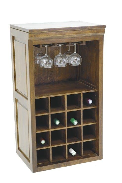 Meuble range bouteilles et verres hévéa 49x38x88cm TRADITION