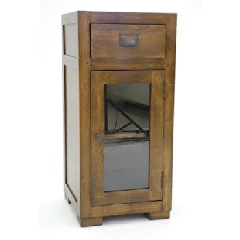 Confiturier 1 porte vitrée hévéa 40x40x86cm HELENA