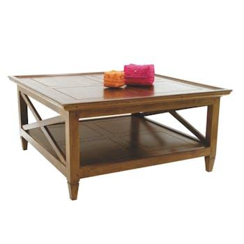 Table basse Hévéa double plateaux et côtés croisillons 90x90x45cm MAORI / TRADITION