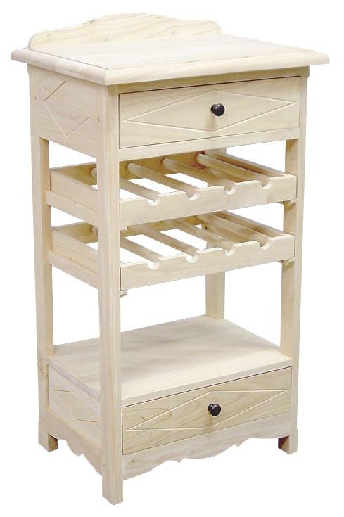 Desserte de cuisine Hévéa 2 tiroirs, 1 étagère, 2 racks à bouteilles 49x38x84cm TRADITION