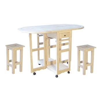 Table de repas à roulettes Hévéa 2 tiroirs + 2 tabourets 75x60x85cm TRADITION