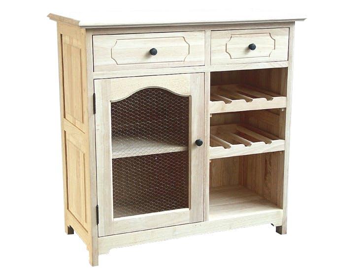Meuble de cuisine Hévéa 2 tiroirs, 1 porte grillagée, 1 niche, 2 racks à bouteilles 84x43x84cm TRADITION