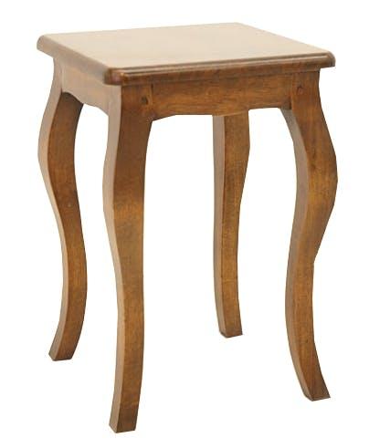 Tabouret / Table de chevet Hévéa pieds galbés 30x30x45cm TRADITION