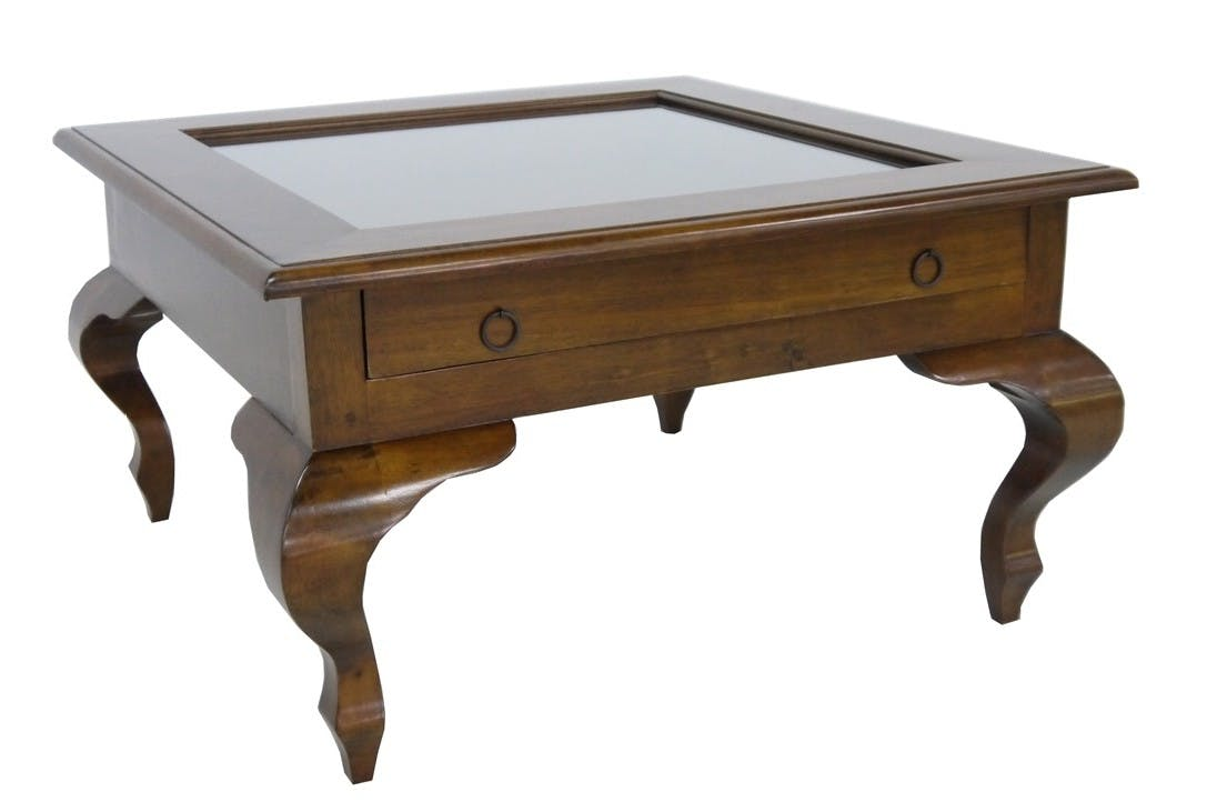 Table basse vitrée Hévéa 1 tiroir, pieds galbés 80x80x46cm MAORI