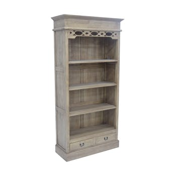 Bibliothèque ouverte Hévéa 2 tiroirs, 4 niches étagères 99.6x39.6x200cm MAORI