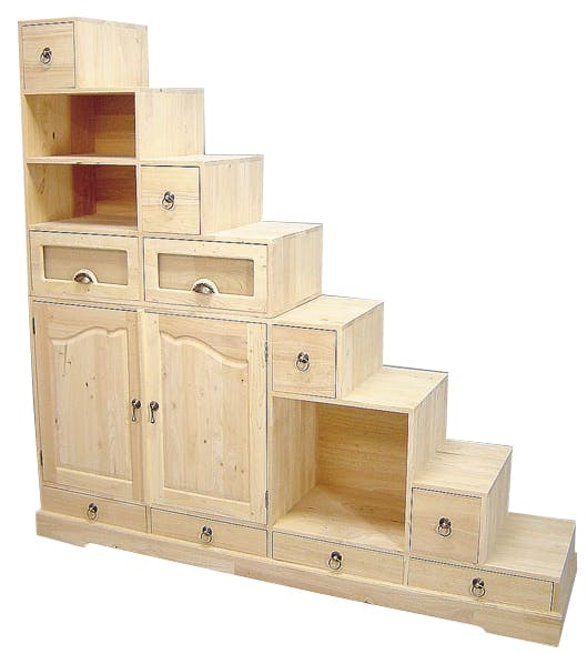 Meuble Escalier Hévéa 2 portes, 10 tiroirs dont 2 décorables, 3 niches 185x40x177cm MAORI
